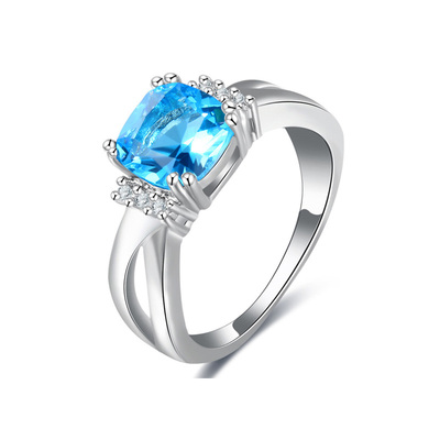 Graceful Sea Blue Diamond White Gold Ring