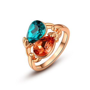Double Tear Drop Rose Gold Ring