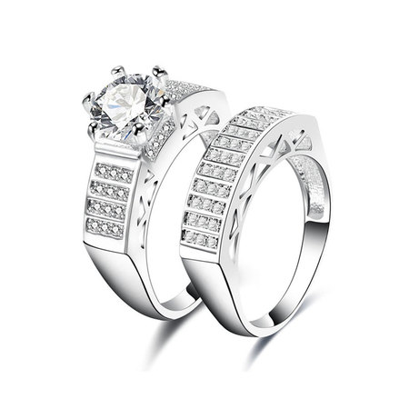 Arc Ladder Diamond Couple Rings