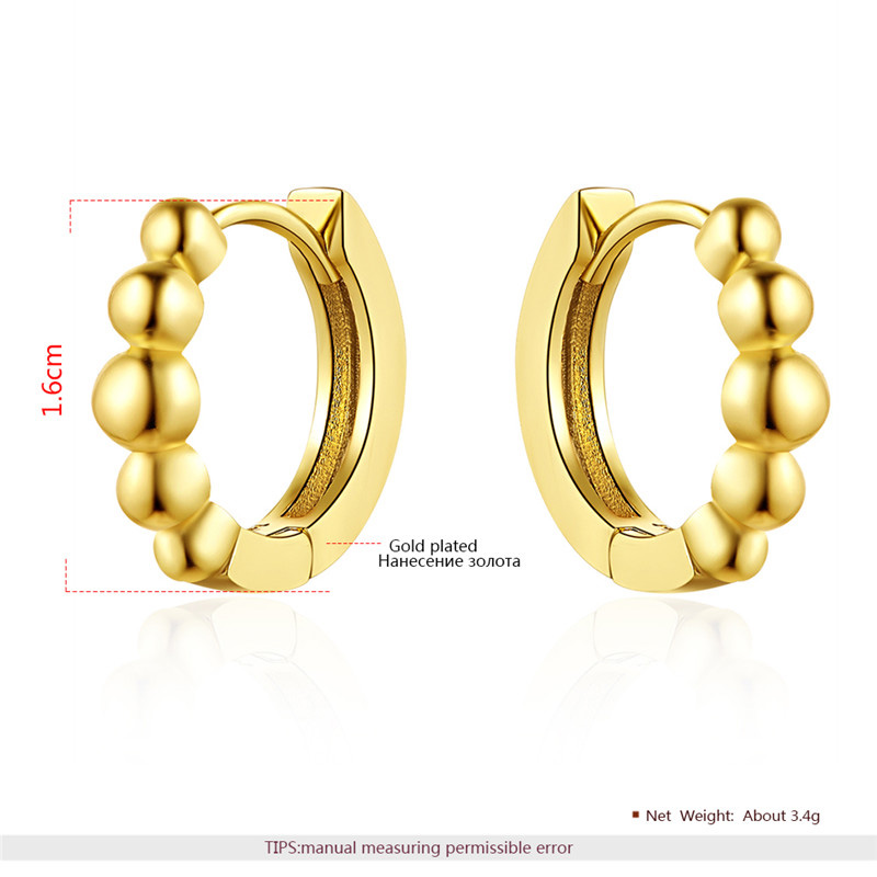 Fashion Concise Yellow Gold Hoop Earrings
