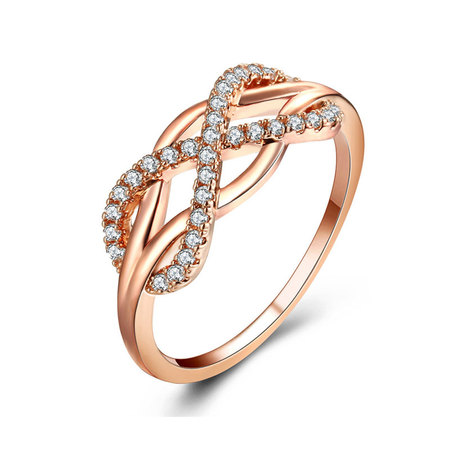 Infinity Cross Rose Gold Zirconia Ring