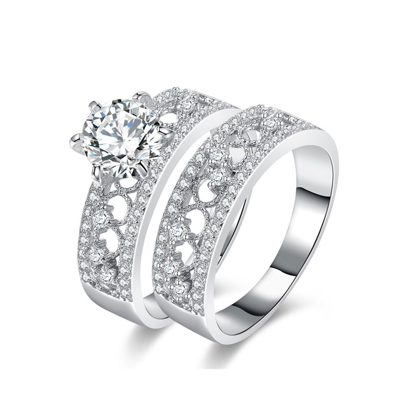 Double Row Scatter Halo Ring Set