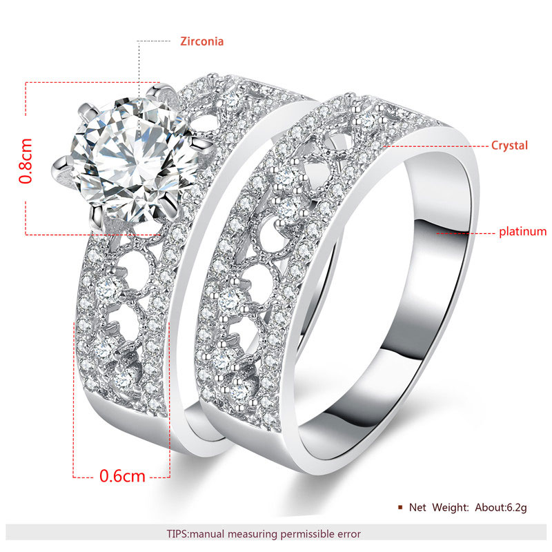Double Row Scatter Halo Ring White Gold Set