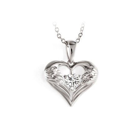 Wings Of Love White Gold Necklace
