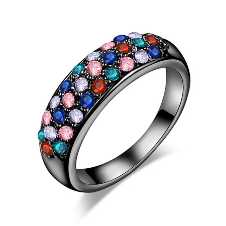 Three Rows Mixed Diamond Ring - Gun Black