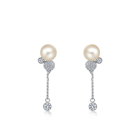 Pearl Stud & Crystal Drop White Gold Earrings