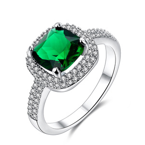 Sun Vow Emerald Diamonds Wedding Ring - White