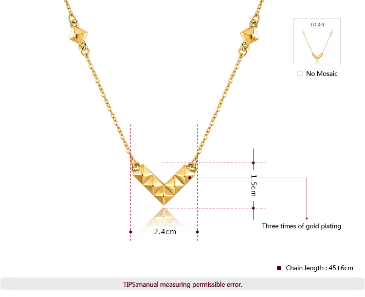 V  Pendant Yellow Gold Necklace