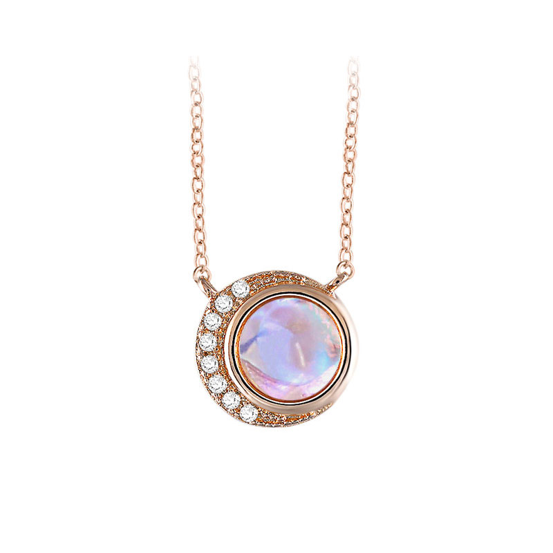 Moon Embraces Sun Moonstone Necklace