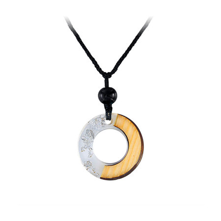 Circle White Resin Silver Foil Necklace