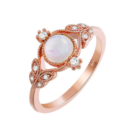 Four Eyes Leaves Moonstone Ring