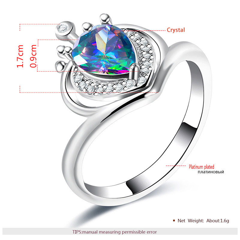 Crown Teardrop Colourful Diamond White Gold Ring
