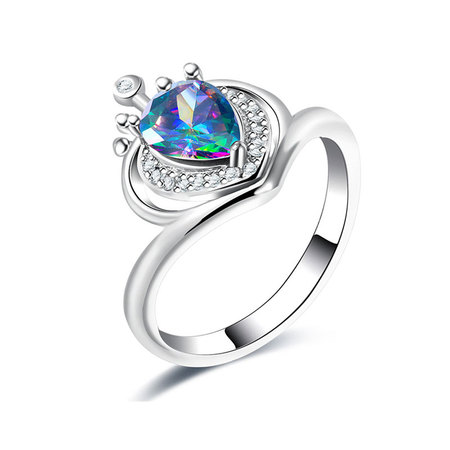 Crown Teardrop Colourful Diamond Ring