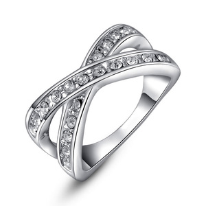 Intersect 2 Row Diamond Ring - White