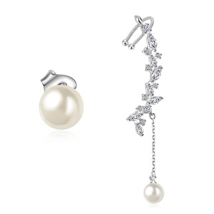 Wind Horse Eye Zirconia & Pearl Earrings