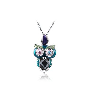 Multicolour Owl Pendant Necklace - White Gold