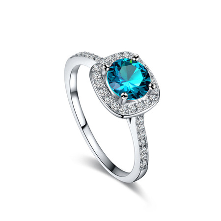 Hearts and Arrows Blue Zirconia Wedding Ring