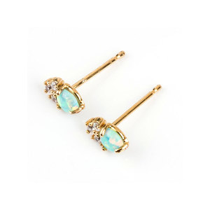Gold-Collar Opal 18K Gold Stud Earrings