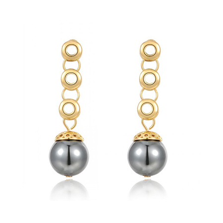 Gray Pearl Drop Rose Gold Earrings