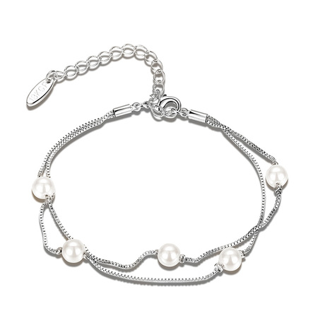 Five Pearl White Gold Chain Bracelet
