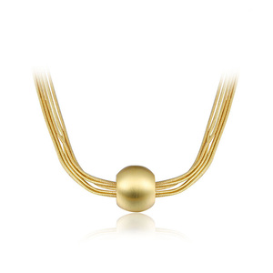Yellow Gold Ball Multi-Wire Necklace