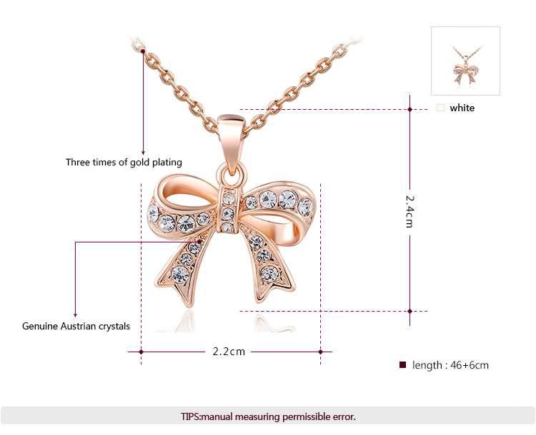 Bowknot Pendant Rose Gold Necklace