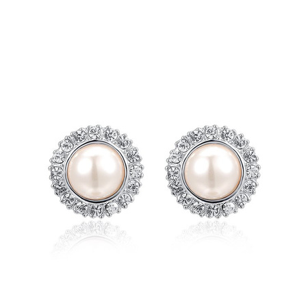 Classic Round Pearl Stud Earrings