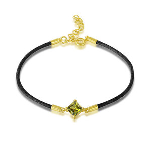 Emerald 18K Gold Black Leather Bracelet