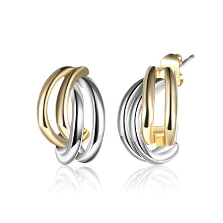 Pair Arc Two-Tone Stud Earrings