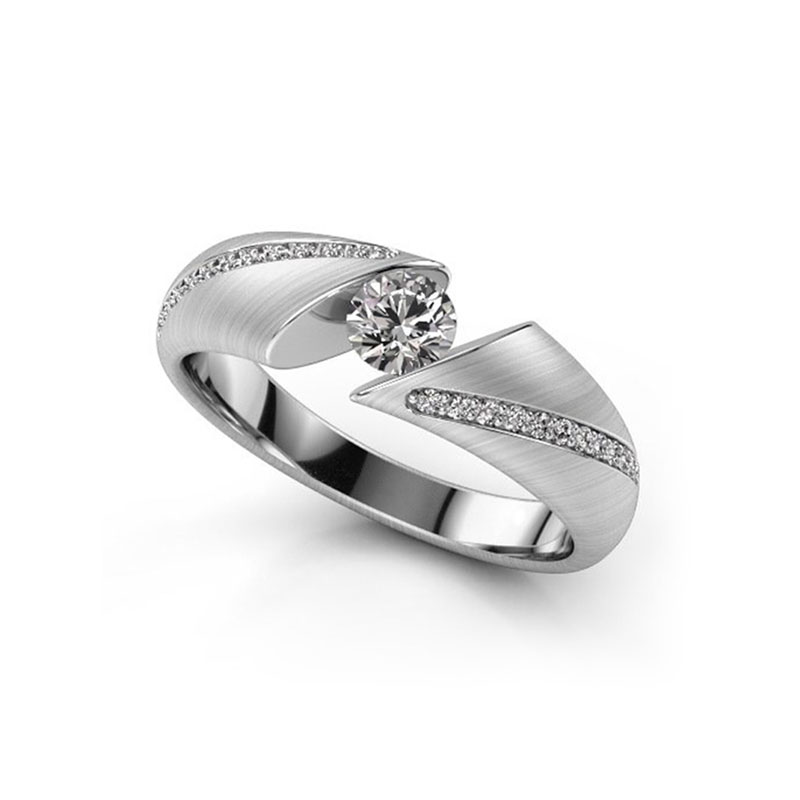 Parallel Section White Gold Diamond Ring
