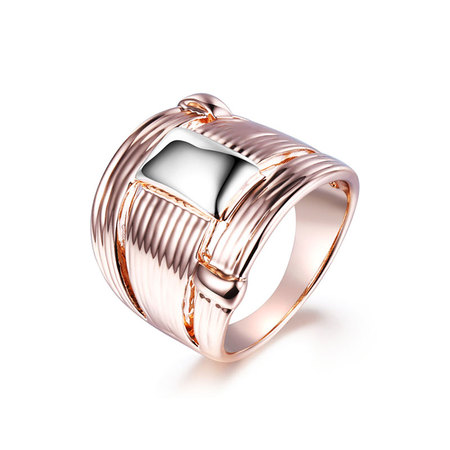 Wire Enwind Button Two-Tone Ring