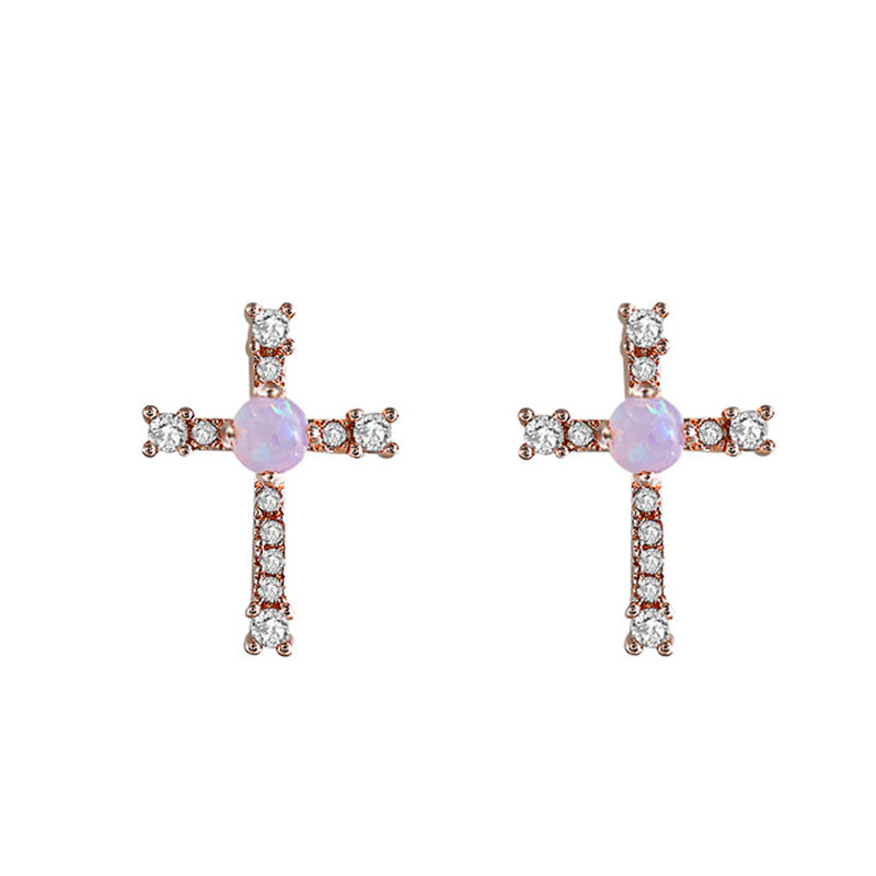 Cross Opal Rose Gold Stud Earrings
