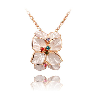 White Petal Crystal Pistil Flower Pendant Necklace - Rose Gold