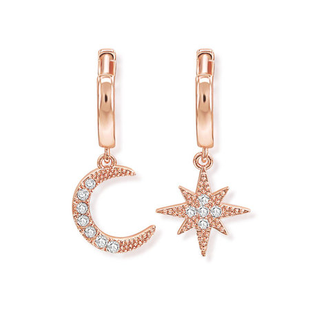 Moon & Star Rose Gold Drop Earrings