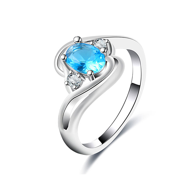 Buckle Oval Sapphire White Gold Ring