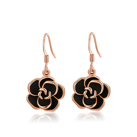 Black Rose Earrings - Rose Gold