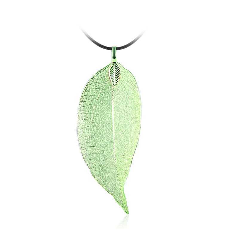 Simulation Green Leaf Leather Necklace