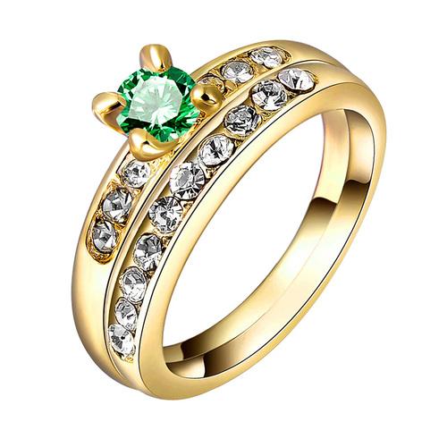 Yellow Gold Emerald Wedding Ring Set