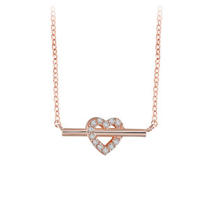 Bar of Heart Rose Gold Necklace