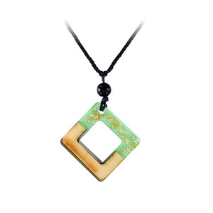 Square Frame Green Resin Gold Foil Necklace