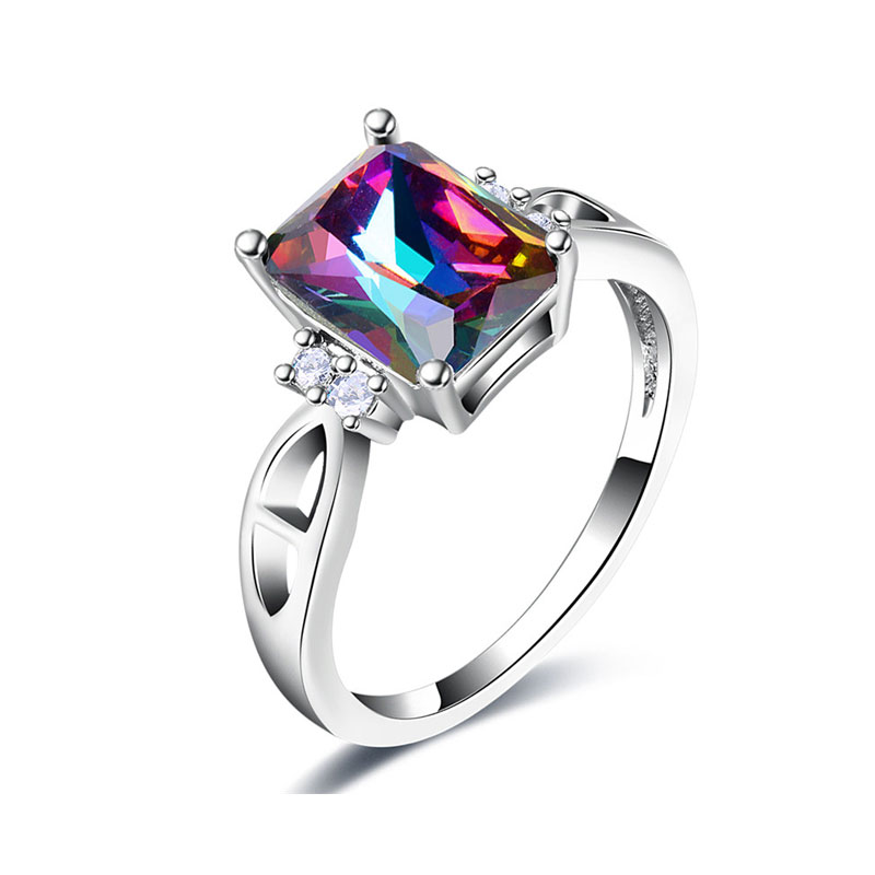 Radiant Colorful Diamond White Gold Ring