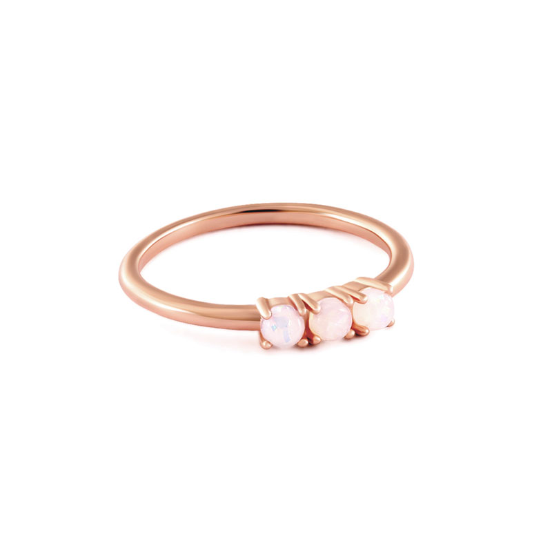 Three Egg Opal Rose Gold Ring