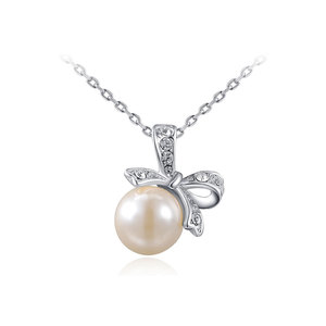Lively Bowknot Pearl Pendant Necklace - White Gold