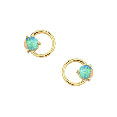 Circle 18K Gold Opal Stud Earrings