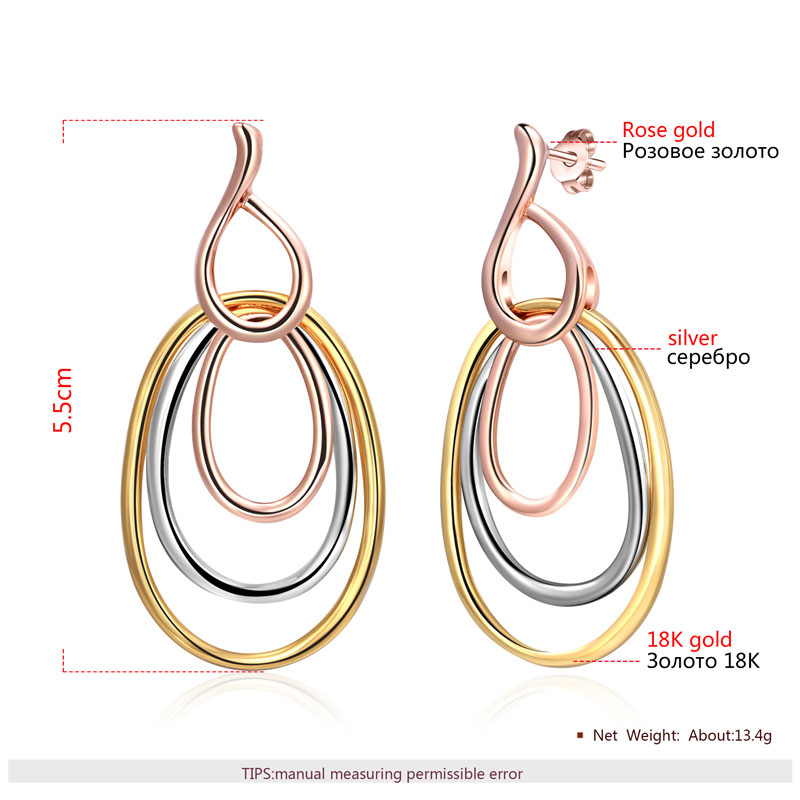 Three-Color Multi-Ring Drop Earrings