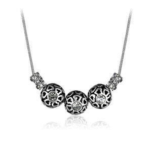 Cut Out Heart Ball Silver Necklace