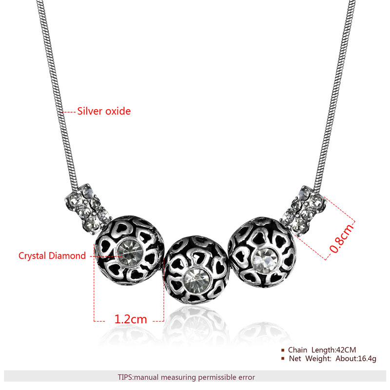 Three Cut Out Heart Ball Silver Oxide Pendant Necklace