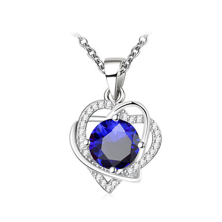 Double Heart Winding Sapphire Necklace