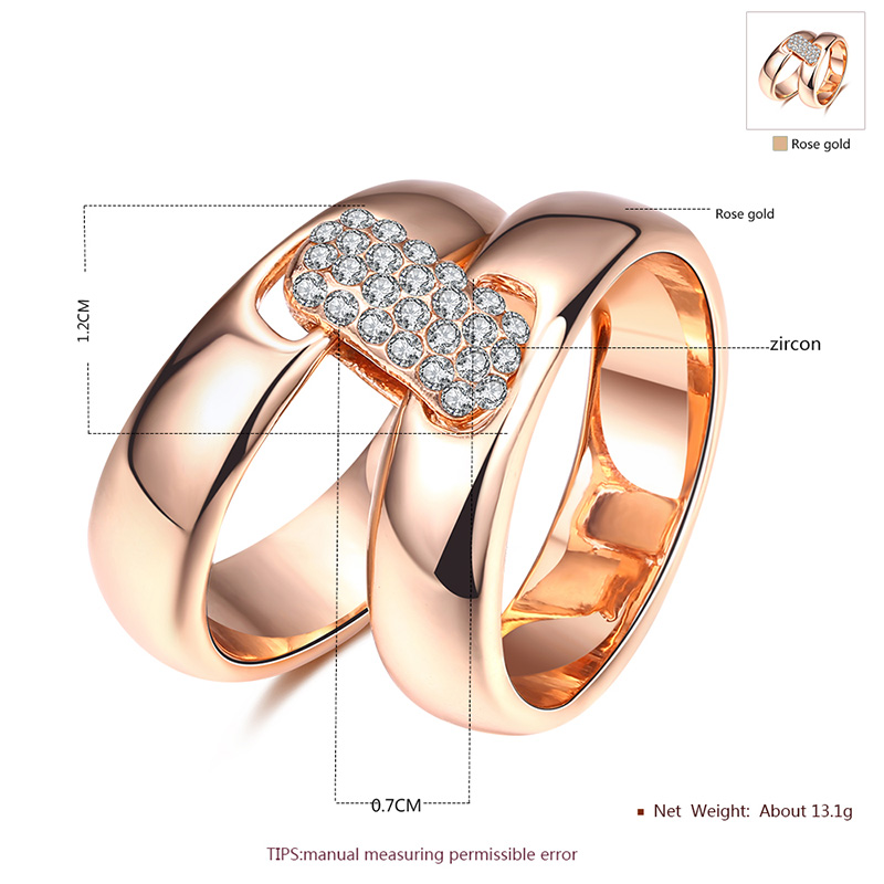 Square Diamante Buckle Rose Gold Rings Set