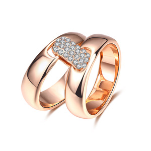 Square Diamante Buckle Rings Set